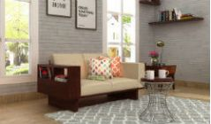 wooden two seater sofa