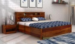 king size hydraulic storage bed India with headboard storage