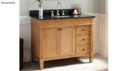 Wooden Bathroom Vanity with Sink on Top and Drawers to Store Bathroom accessories