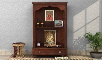 wooden mandir with storage drawer