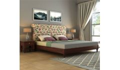 King size upholstered bed with tufted headboard