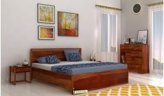 king size hydraulic bed online in honey finish