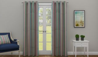 multi colored long door curtains