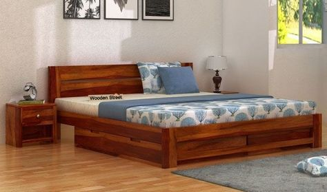 Queen size wooden bed with storage in honey finish