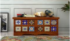 wooden trunk chest with traditional designer touch
