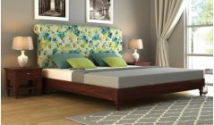 sheesham wood bed with upholstery online