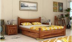 solid wood double bed in teak finish