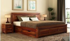king size bed with side storage drawers made with sheesham wood