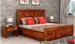 sheesham wood double bed with storage and high headboard