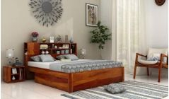 solid wood bed with multiple storage solution