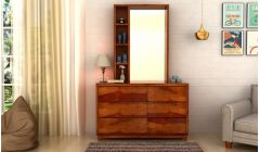 dressing table with multiple drawers and storage shelf
