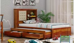 solid wood kids bed with trundle and headboard storage