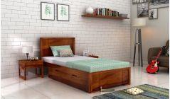 Storage Single Bed Honey Finish