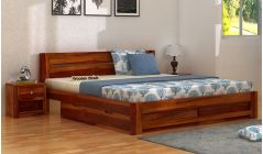 wooden double bed with storage box beneath