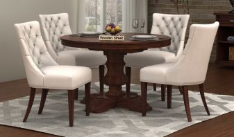 Solid wood round shape dining table set
