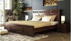 buy sheesham wood bed without storage