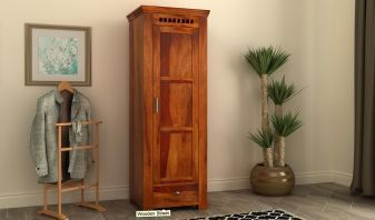 single door wooden wardrobe crafted with sheesham wood