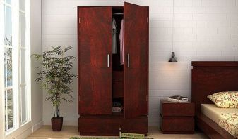 2 door solid wood wardrobe online