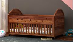 wooden baby cot with wheels