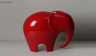 Red Elephant Resin Figurine