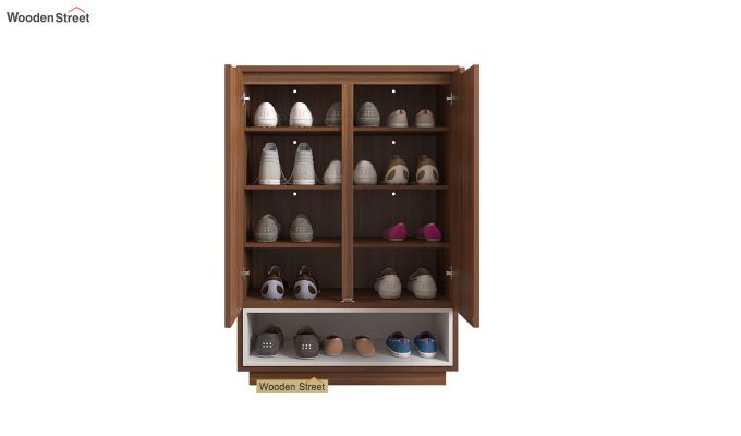 Hector Shoe Rack with Frosty White Drawer (Exotic Teak Finish)-4