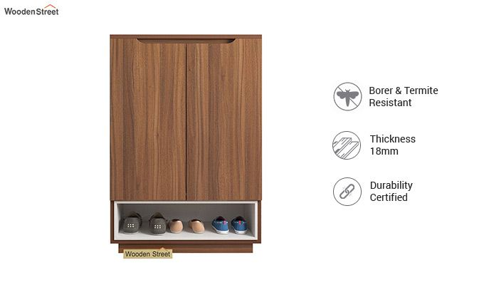 Hector Shoe Rack with Frosty White Drawer (Exotic Teak Finish)-3