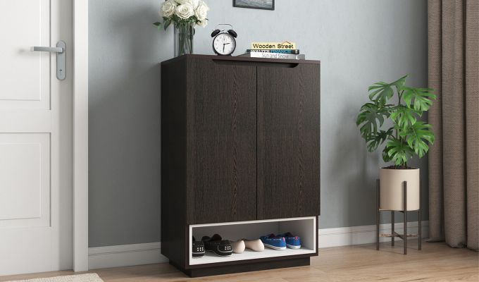 Hector Shoe Rack with Frosty White Drawer (Flowery Wenge Finish)-1