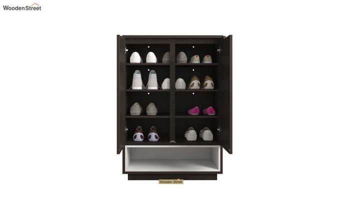 Hector Shoe Rack with Frosty White Drawer (Flowery Wenge Finish)-4