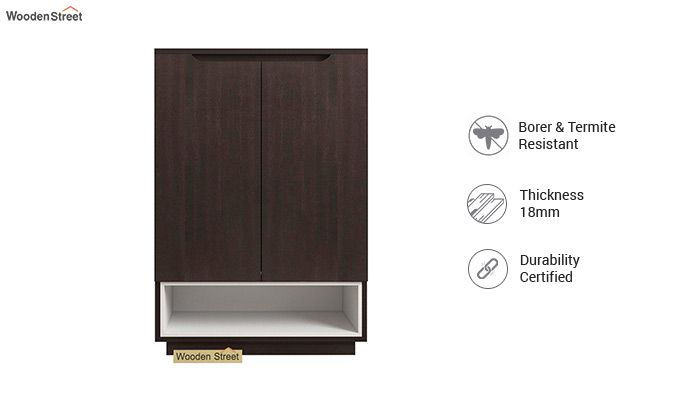 Hector Shoe Rack with Frosty White Drawer (Flowery Wenge Finish)-3