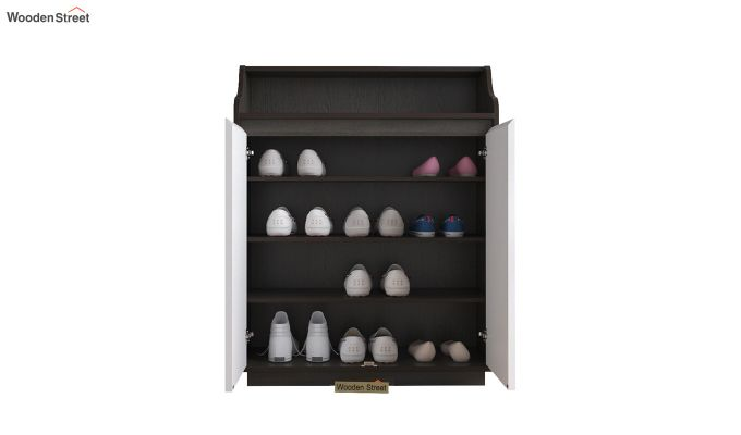 Willow Shoe Rack with Frosty White Drawer (Flowery Wenge Finish)-4