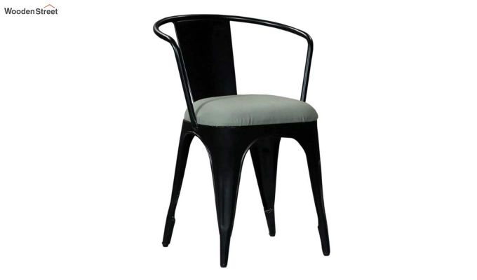 Aero Metal Arm Chair With Fabric (Black)-2