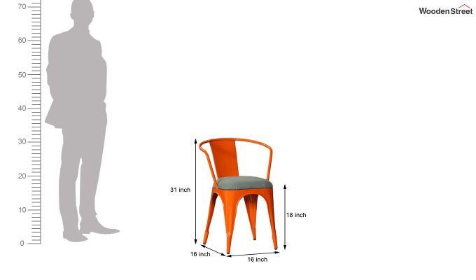 Aero Metal Arm Chair With Fabric (Orange)-6