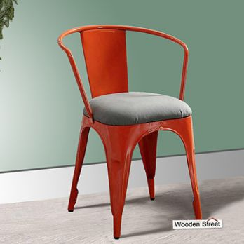 Aero Metal Arm Chair With Fabric (Orange)