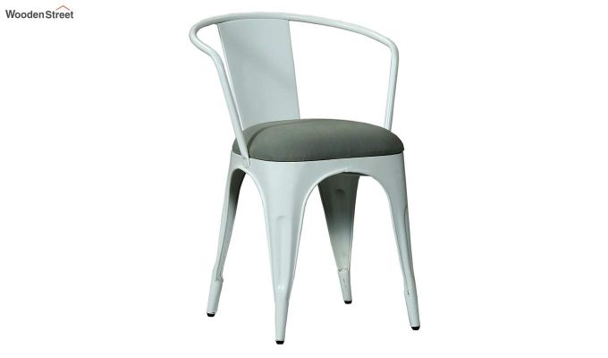 Aero Metal Arm Chair With Fabric (White)-2