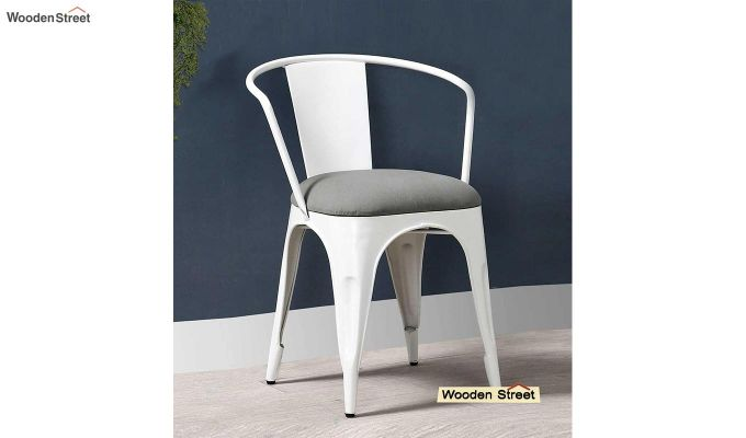 Aero Metal Arm Chair With Fabric (White)-1