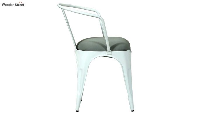 Aero Metal Arm Chair With Fabric (White)-4