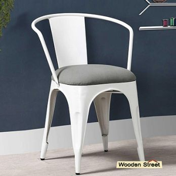 Aero Metal Arm Chair With Fabric (White)