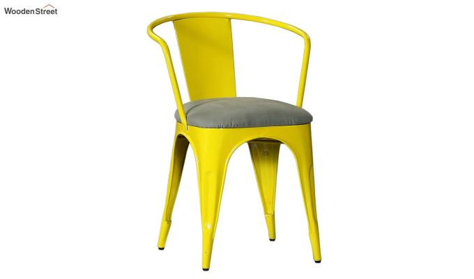 Aero Metal Arm Chair With Fabric (Yellow)-2