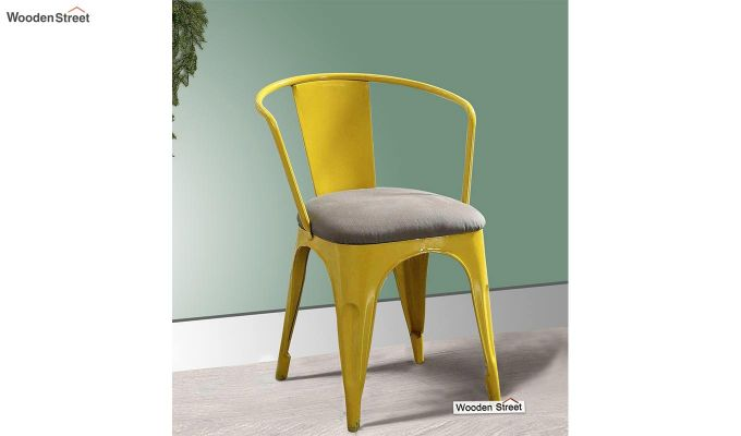 Aero Metal Arm Chair With Fabric (Yellow)-1
