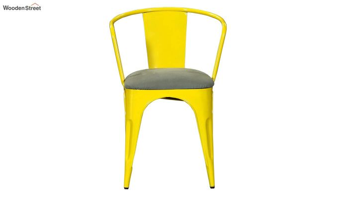 Aero Metal Arm Chair With Fabric (Yellow)-3