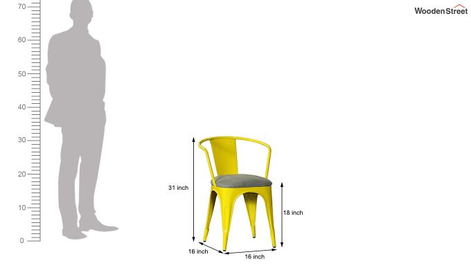 Aero Metal Arm Chair With Fabric (Yellow)-6
