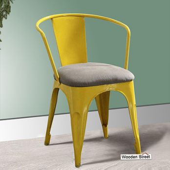 Aero Metal Arm Chair With Fabric (Yellow)