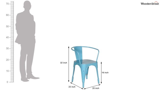 Aero Metal Arm Chair (Sky Blue)-6