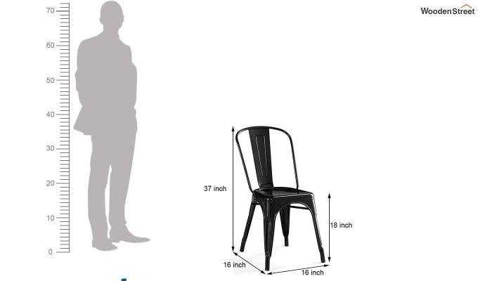 Ahora Iron Chair Set of -2 (Black)-5