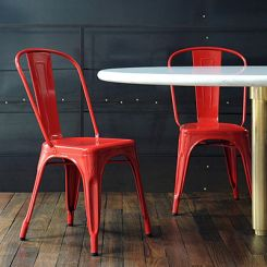Ahora Iron Chair Set of -2 (Red)