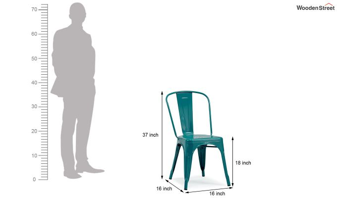 Ahora Iron Chair Set of -2 (Sea Blue)-5