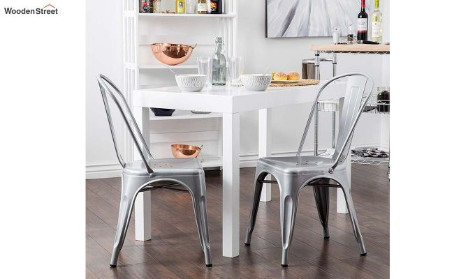 Ahora Iron Chair Set of -2 (Silver)-1