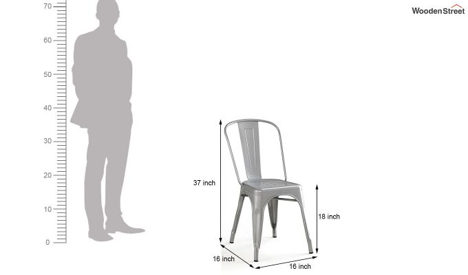 Ahora Iron Chair Set of -2 (Silver)-5