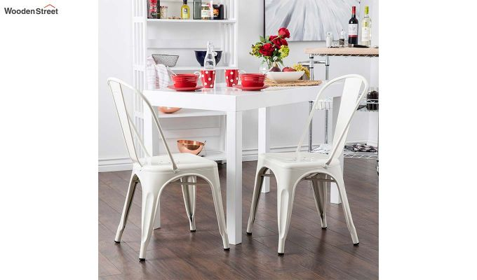 Ahora Iron Chair Set of -2 (White)-1