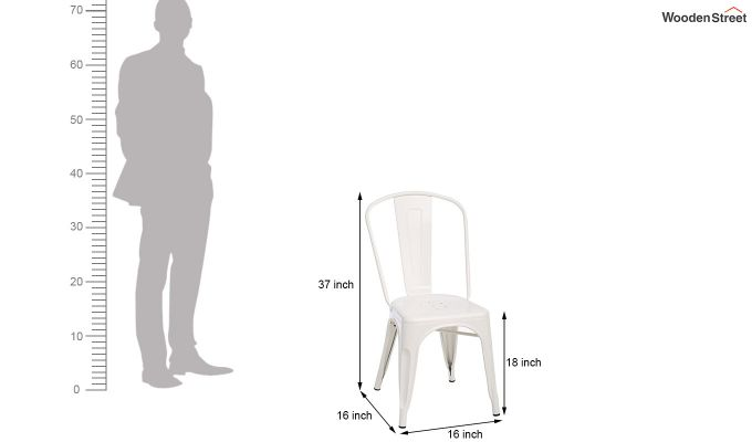 Ahora Iron Chair Set of -2 (White)-6